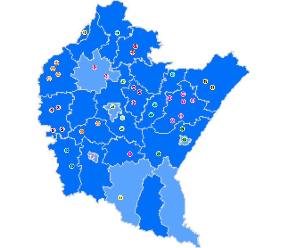 Mapa województwa podkarpackiego z zaznaczonymi miejscowościami skąd napłynęły wnioski