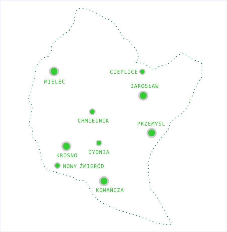 Mapa województwa podkarpackeigo z zaznaczonymi miejscowoścami Nowy Żmigród, Krosno, Komańcza, Przemyśl, Mielec,Chmielnik, Dydnia, Jarosław, Cieplice